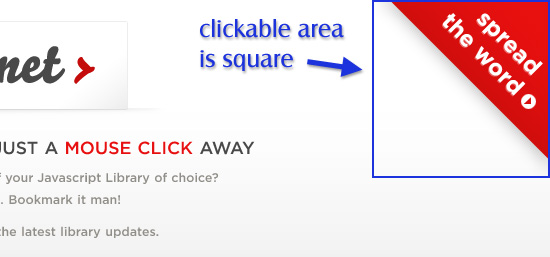 The clickable area of the corner ad is square